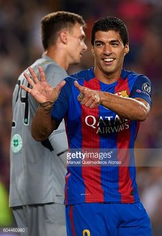 Luis Suarez of FC Barcelona celebrates scoring his team's sixth goal during the UEFA Champions League Group C match between FC Barcelona and Celtic...