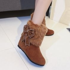 28.33$  Watch now - http://dicpp.justgood.pw/go.php?t=203222602 - Bowknot Hidden Wedge Furry Snow Boots 28.33$