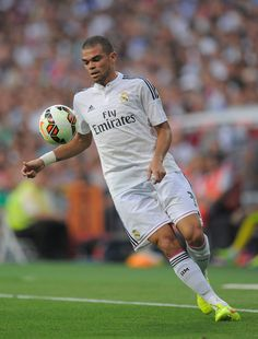 Pepe of Real Madrid in action during the La liga match between Real Madrid CF and Cordoba CF at Estadio Santiago Bernabeu on August 25, 2014 in Madrid, Spain.