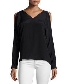 Riley Cold-Shoulder V-Neck Top, Black by Ramy Brook at Neiman Marcus.