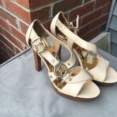 Cream Michael Kors heels shoes Great , like new condition. Cream color , size 6 1/2 M Michael Kors Shoes Heels