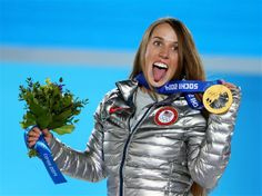 Gold medalist Maddie Bowman of the United States celebrates during the medal ceremony for the Women's Ski Halfpipe