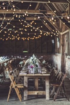 Image by Claire Penn Photography - Charlie Brear Catroux Gown | DIY Decor | Rustic Barn Wedding | Blessing | Mis-match Bridesmaid Dresses | Bright Blue Suits | Claire Penn Photography | http://www.rockmywedding.co.uk/chloe-tom/