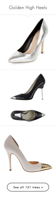 """""""Golden High Heels"""" by bianca-cazacu ❤ liked on Polyvore featuring shoes, pumps, pointed shoes, silver metallic pumps, pointy toe shoes, metallic pointed toe pumps, silver pumps, silver, silver metallic shoes and silver pointed toe pumps"""