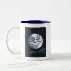 Coffee Mug WHIMSICAL MOON Coffee Shop, Coffee Mugs, Man On The Moon, Sticker Shop, Blue Moon, Morning Coffee, New Day, Whimsical, Tableware