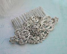 Vintage Stye bruids Haircomb, bruiloft Crystal Haircomb, Bridal Rhinestone Haircomb, Vintage haartoebehoren, Bridal Comb - 'SASHA'