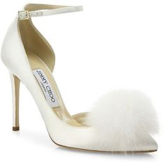 Jimmy Choo Fox Fur Pom-Pom & Satin D'Orsay Ankle-Strap Pumps ($895) ❤ liked on Polyvore featuring shoes, pumps, apparel & accessories, jimmy choo shoes, pom pom pumps, pointy-toe pumps, pointy toe ankle strap pumps and fox shoes