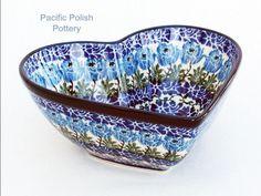 Polish Pottery Stoneware CA Heart Bowl (B37-1390) BLUE ROSE Boleslawiec Polish Pottery, Pottery Art, Roseville Pottery, Stoneware, Decorative Bowls, Indigo, Clay, Dreams, Heart