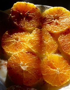 Simple Moroccan dessert - slices of the juiciest oranges sprinkled with cinnamon and maybe a touch of rosewater