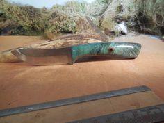 Eric's Oregon Elk Skinning Knife Blue Stabilized  Buckeye Burl wood Handles by EricsCustomKnives on Etsy