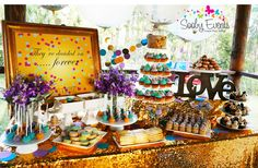 Gorgeous dessert table at a confetti & glitter engagement party! See more party planning ideas at CatchMyParty.com!