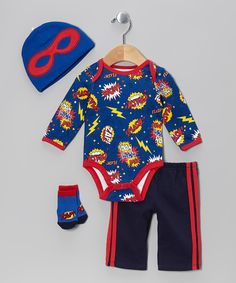 Take+a+look+at+the+Vitamins+Baby+Royal+Blue+'Pow!+Wham!+Wow!'+Bodysuit+Set+-+Infant+on+#zulily+today!