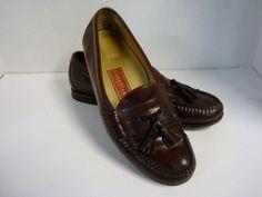 Men's Dress Shoes COLE HAAN Loafer Sz 10.5 E Burgundy Leather Tassel #ColeHaan #LoafersSlipOns