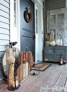 10 Fall Front Porch Decorating Ideas by A Blissful Nest - This front porch fall . 10 Fall Front Porch Decorating Ideas by A Blissful Nest - This front porch fall decor uses rustic wooden textures and neutral colors to make a bold fall statement. Wooden Pumpkins, Fall Pumpkins, Halloween Veranda, Outdoor Halloween, Halloween Porch, Halloween Decorations, Fall Porch Decorations, Farmhouse Halloween, Cheap Halloween