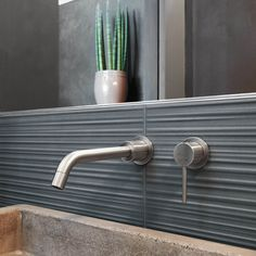 These large oblong Italian glazed wall tiles are available in three matt colours and have a surface texture, which reminds you of a fibre-textile finish. Very cool and on-trend. These self-coloured tiles are a chic yet understated way to add a tactile three-dimensional texture on feature areas like the wall behind the bath, or inside your shower area. #walltile #bathroomtile #bathroomwall #wetroom #decor #diy #bathroomdecor #greydecor #greytile #greybathroom #concreteeffect #concretetile Brick Tiles, Concrete Tiles, Wall And Floor Tiles, Wall Tiles, Porch Fireplace, Glazed Walls, Geometric Tiles, Wet Rooms, Color Tile