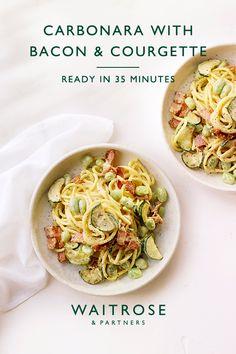 Creamy carbonara with bacon, broad beans and courgette, ready in 25 minutes. Serve with Parmigiano Reggiano and a squeee of lemon to cut through the richness. Tap for the full Waitrose & Partners recipe. Lunch Recipes, Meat Recipes, Pasta Recipes, Vegetarian Recipes, Dinner Recipes, Cooking Recipes, Healthy Recipes, Vegetarian Cooking, Easy Cooking