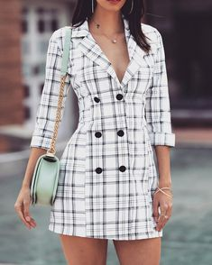 Shop Double Breasted Long Sleeve Blazer Dress right now, get great deals at pickmyboutique Trend Fashion, Look Fashion, Fashion Outfits, Trendy Outfits, Summer Work Outfits, Spring Outfits, Blazer Dress, Shirt Dress, Tweed Blazer