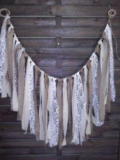 Rustic garland,fabric and burlap garland, Wedding prop, home decor, rag bunting, fabric banner