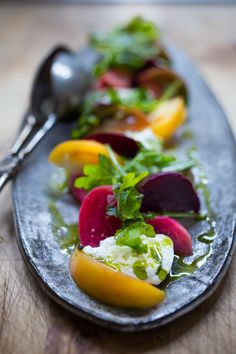 An Heirloom Tomato, Beet and Burrata Salad with flavorful Basil Oil -- a simple and delicious recipe, the perfect salad for summer! Burrata Recipe, Burrata Salad, Beet Salad, Burrata Cheese, Tomato Recipe, Whole Food Recipes, Cooking Recipes, Healthy Recipes, Vegetarian Recipes