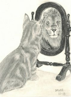 "Pencil drawing I made for blog post ""Lion in the Mirror..."""