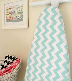 Ironing Board Cover - Aqua Blue and White Chevron - Riley Blake #rileyblakedesigns #chevron