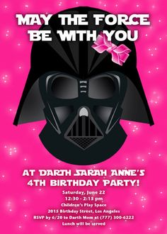 Girl's Star Wars Birthday Party Invitation. by SarahTacomaDesigns