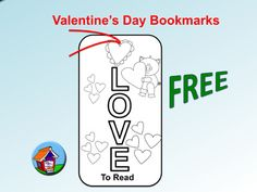 FREE - Valentine's Day bookmarks for kids to color!