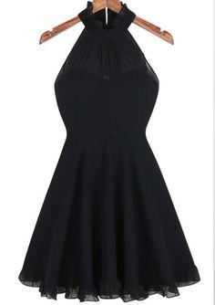 Sheinside Black Halter Sleeveless Pleated Dress EUR€16.98