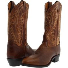 Tony Lama 7938 (Cognac/Suntan) Cowboy Boots ($144) ❤ liked on Polyvore featuring men's fashion, men's shoes, men's boots, brown, mens leather pull on boots, mens brown leather shoes, mens brown shoes, mens leather slip on shoes and mens slip on boots