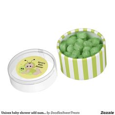 Unisex baby shower add name color box favor chewing gum favors