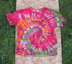 Red Orange Purple and Green Spiral Tie Dye TShirt by madebyhippies, $25.00