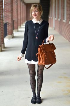 I have a polka dot dress similar to this that i wear all the time!  This dress with these tights are perfect :)