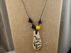 SALE  Ceramic Bats and Full Moon Pendant on by HealingGemsJewelry