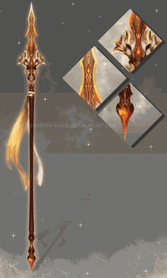 art conceitual (CUSTOM) - Eldrvaryafeon Spear for Cinderfeng by Timothy-Henri on DeviantArt Fantasy Sword, Fantasy Weapons, Fantasy Art, Lance Weapon, Spears Weapon, Cool Swords, Sword Design, Anime Weapons, Medieval Weapons