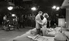 1963. Dick Van Dyke and Mary Tyler Moore on the set of The Dick Van Dyke Show with Jerry Paris directing in front of the studio audience that served as their unbilled co-star. Photo by Earl Thiesen for Look magazine.