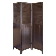 Shutter Door 3-panel Wood Room Divider In Espresso