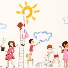 white painting children fabric Michael Miller Make Believe ...