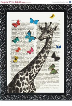 Hey, I found this really awesome Etsy listing at https://www.etsy.com/listing/124216445/nursery-giraffe-print-with-butterflies