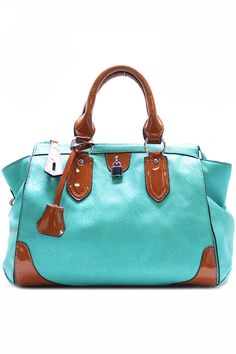 PURSE AND BAG / HANDBAG / POLYURETHANE / LOCK STUD / ZIP TOP CLOSURE / BACK ZIP POCKET / INSIDE TWO ...