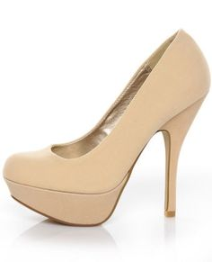 Qupid Onyx 01 Nude Velvet Party Platform Pumps - $30.00 - StyleSays