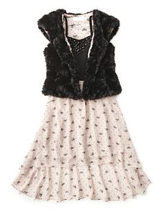 Sally Miller faux fur jacket and print dress #comingsoon