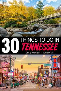 Planning a trip to Tennessee and wondering what to do there? This travel guide will show you the top attractions, best activities, places to visit & fun things to do in Tennessee. Start planning your itinerary & bucket list now! Visit Tennessee, Tennessee Vacation, Memphis Tennessee, Attractions In Tennessee, Camping In Tennessee, Gatlinburg Tennessee, Usa Travel Guide, Travel Usa, Us Travel Destinations