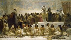 """Edwin Longsden Long, """"The Babylonian Marriage Market"""", 1875, oil on canvas. Royal Holloway Collection, London, UK"""