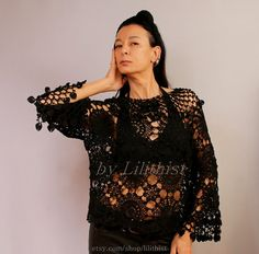 Off Shoulder Top Lace Top Lace Tunic Women Black от lilithist
