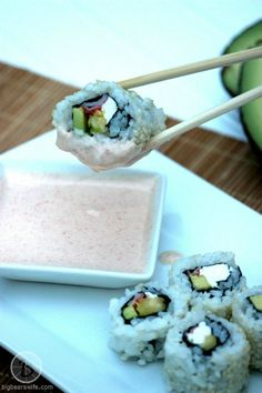 Big Bear's Wife: Homemade Sushi {Avocado, Pineapple, Cream Cheese and Crab} #FlavorsofSummer