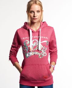 Shop Superdry Womens Triple Star Original Hoodie in Paradise Pink Marl. Buy  now with free delivery from the Official Superdry Store.