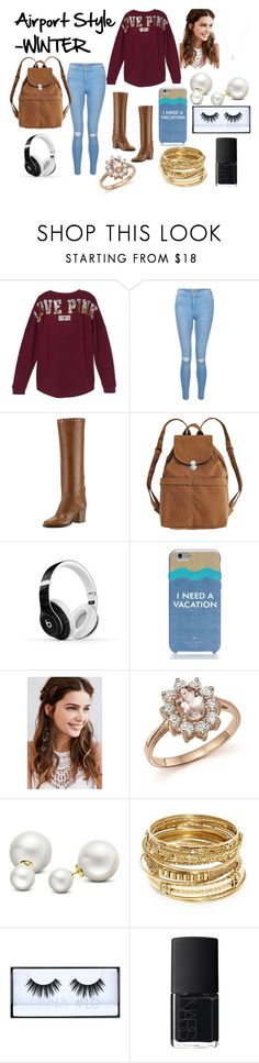 """""""Airport Style - WINTER"""" by izzybellah-1 on Polyvore featuring Victoria's Secret, New Look, Jimmy Choo, BAGGU, Beats by Dr. Dre, Kate Spade, REGALROSE, Bloomingdale's, Allurez and ABS by Allen Schwartz"""