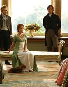 Simon Woods as Mr. Bingley, Kelly Reilly as Caroline Bingley and Matthew Macfadyen as Mr. Darcy in Pride and Prejudice (2005).