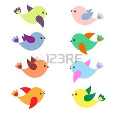 cartoon bird: Colorful Spring birds .Vector set Illustration