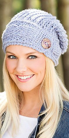 Winding Vines Hat pattern by Lena Skvagerson.  Crochet beanie.  Crochet World Feb 2016.  Saved to newsstand.  10 ply 183m/ 100g x 2
